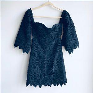 JONATHAN SIMKHAI bustier blk lace dress 6